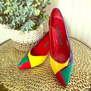 Vintage 80's Martinez Valero Color Block Heels